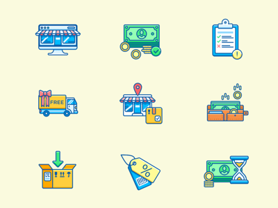 10 Colorful Ecommerce Icons