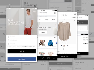 Ecommerce App - Wireframe and UI Kit