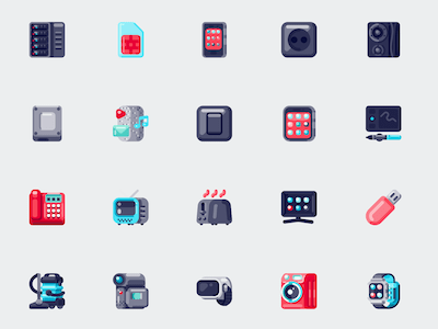 Colorful Electronics Icon Set