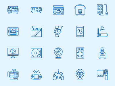 Electronic Devices Line Icons Set