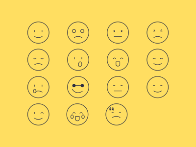 15 Outline Emoji Icons