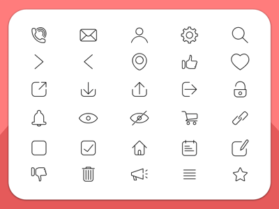 30 Essential Line Icons
