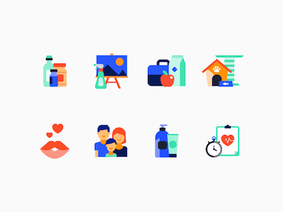 8 Colorful Flat Icons