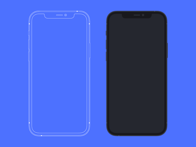 iPhone 12 Pro Mockup - Flat and Outlined