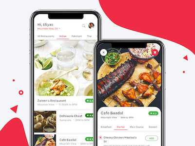 iPhone X Food Delivery App Views