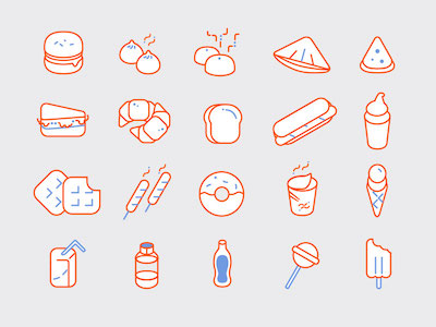 20 Food Line Icons