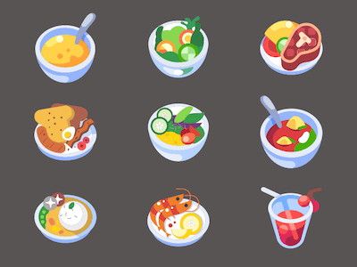 9 Colorful Food Icons