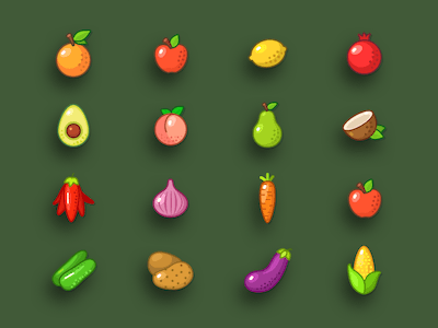 Fruits and Veggies Icons