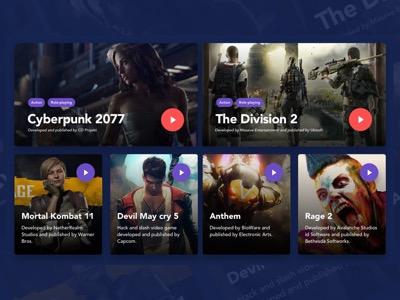 Gaming UI Cards