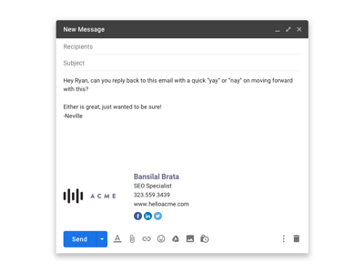Gmail Email Signature Mockup