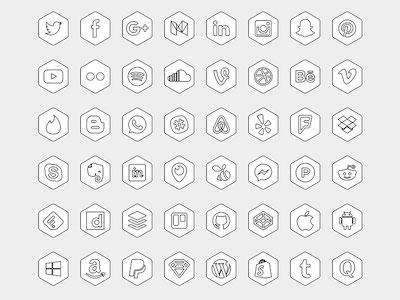 Hexagonal Icon Set