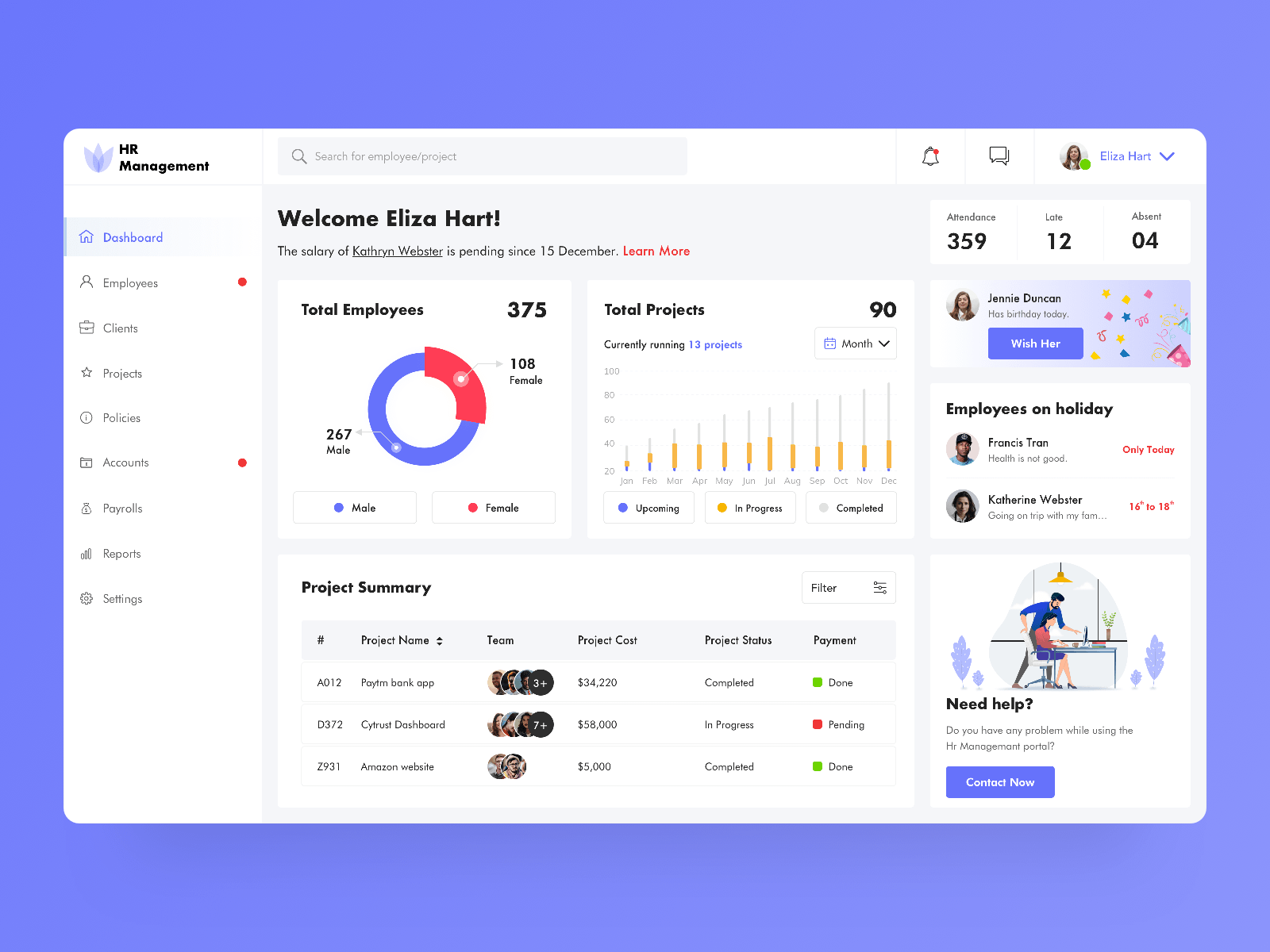 HR Management Dashboard