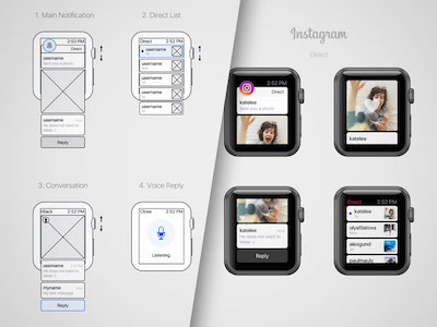 Instagram Direct - Apple Watch Concept