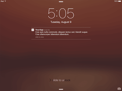 iPad Lock Screen with Notification