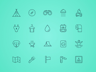 20 Camping Line Icons