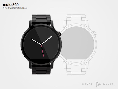 Moto 360 Template and Wireframe