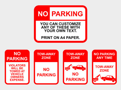 No Parking Customizable Sign