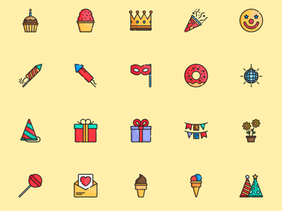 Party Elements Icon Set