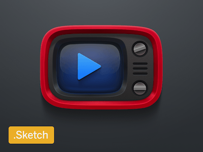 Red Retro TV Icon