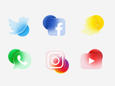 Frosted Glass Social Icons