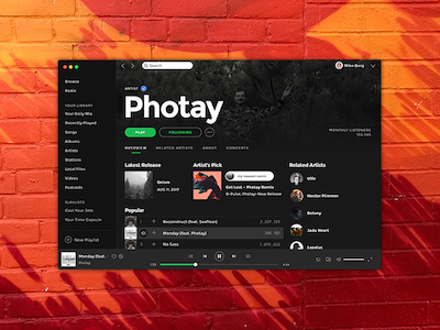 Spotify Mac App UI