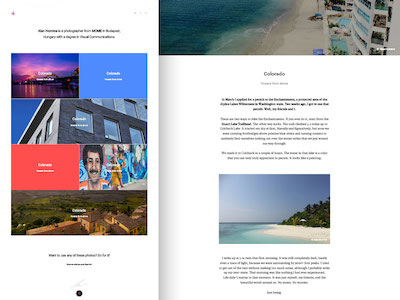 Travel and Photo Blog Web Design