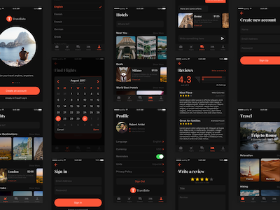 Travelisto UI Kit - Dark Theme