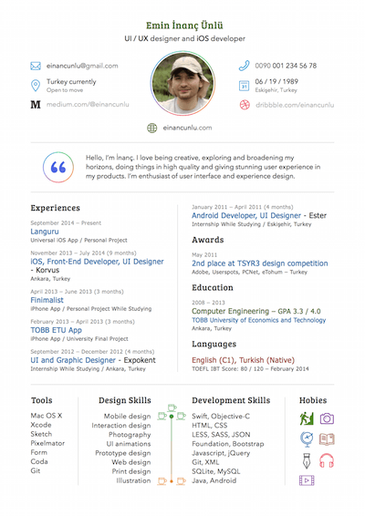 Sketch Resume or CV Template Sketch Resource for Sketch ...