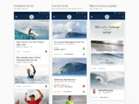 Home UI for the World Surf League Android App
